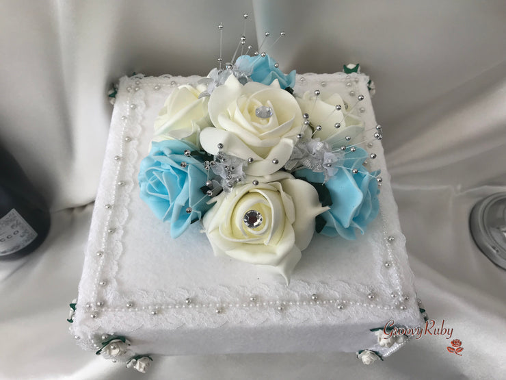 Baby Blue, Silver & Ivory Roses With Delicate Heart Brooch
