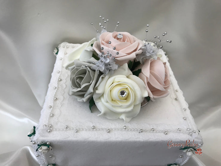 Mocha Pink & Silver Roses With Babies Breath Cake Topper