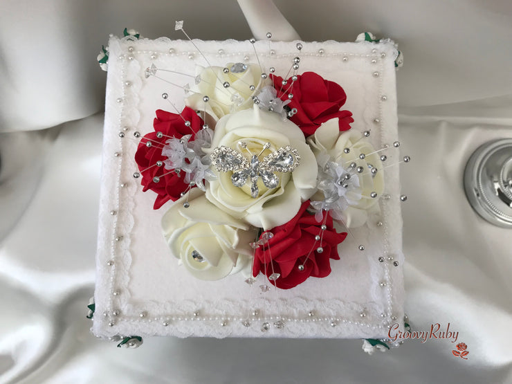 Red & Ivory Rose With Silver & Crystal Butterfly Cake Topper