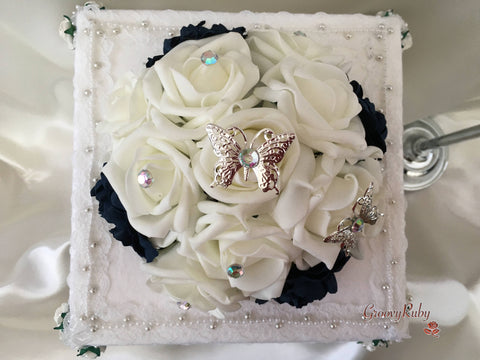 Navy Carnations & Rose Iridescent Butterfly Cake Topper