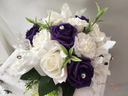 Small Tiger Lilies & Cadbury Purple Roses With Foliage