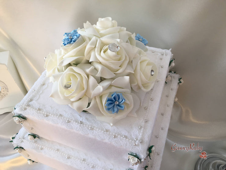 Roses With Baby Blue Satin Diamante Flowers Cake Topper