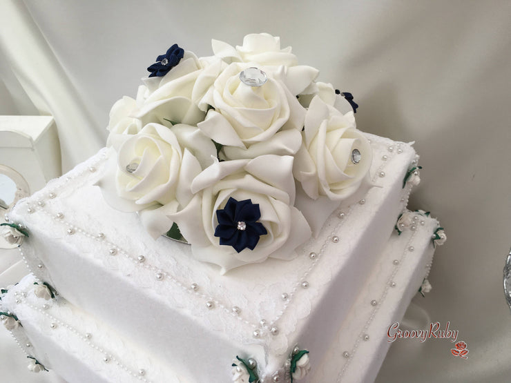 Roses With Navy Satin Diamante Flowers Cake Topper
