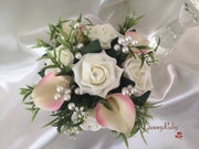 Ivory Rose & Large Ivory Candy Pink-Edged Calla Lily With Pearl Sprays Cake Topper