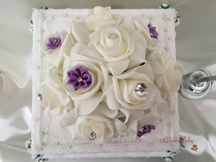 Roses With Lilac Satin Diamante Flowers Cake Topper