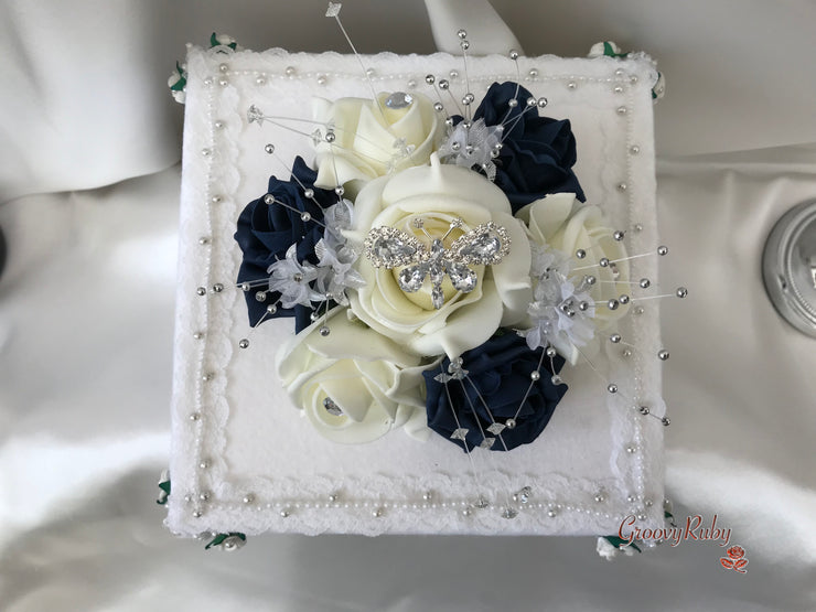 Navy & Ivory Rose With Silver & Crystal Butterfly Cake Topper