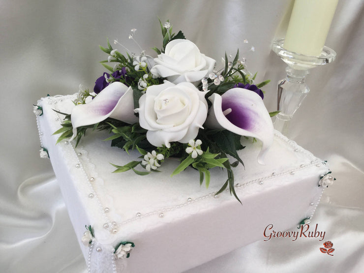White & Cadbury Purple Calla Lilies With Roses & Crystal Butterfly Cake Topper