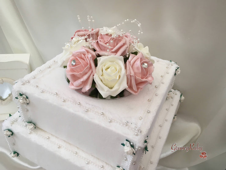 Pearlised Rose Gold & Ivory Rose Butterfly & Pearl Loops Cake Topper