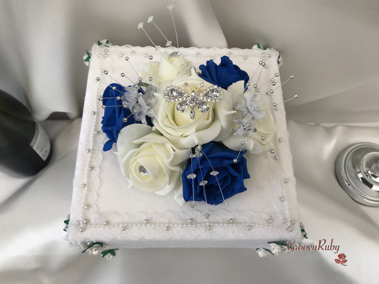 Royal Blue & Ivory Rose With Silver & Crystal Butterfly