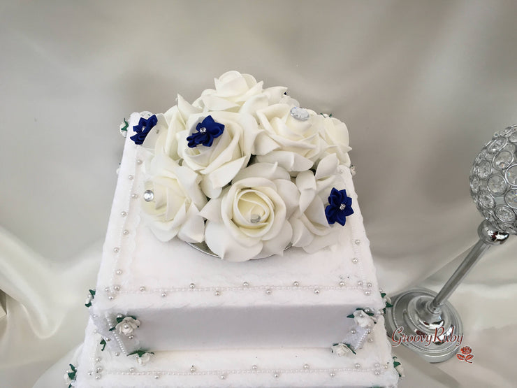 Roses With Royal Blue Satin Diamante Flowers Cake Topper