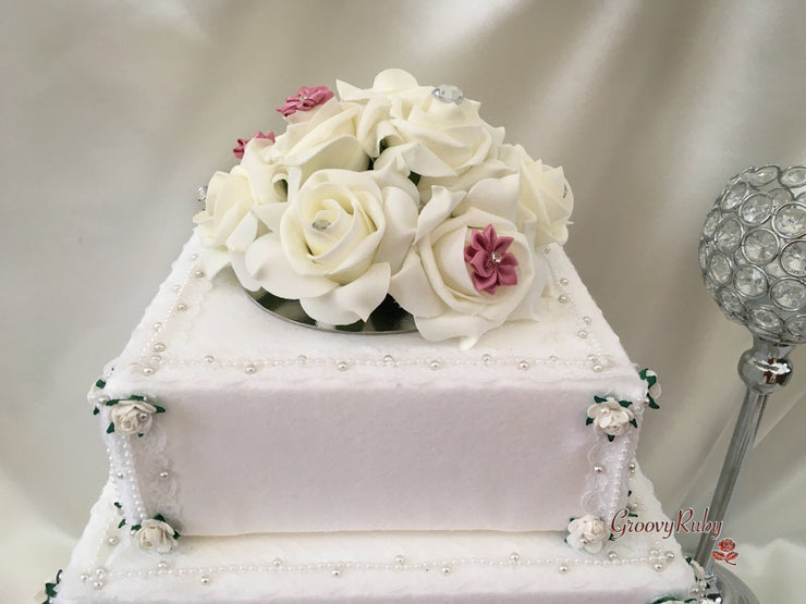 Roses With Dusky Pink Satin Diamante Flowers Cake Topper