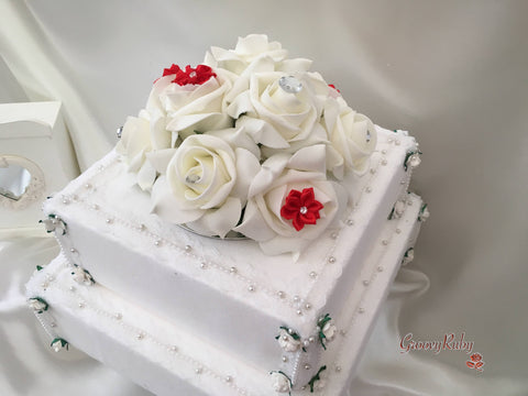 Roses With Red Satin Diamante Flowers Cake Topper
