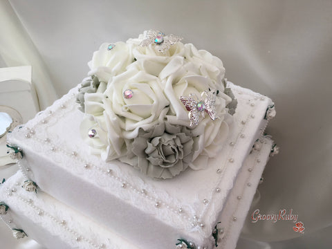 Silver Carnations & Rose Iridescent Butterfly Cake Topper
