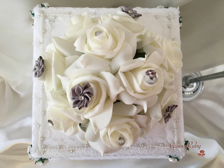 Roses With Silver Satin Diamante Flowers Cake Topper