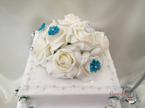 Roses With Turquoise Satin Diamante Flowers Cake Topper