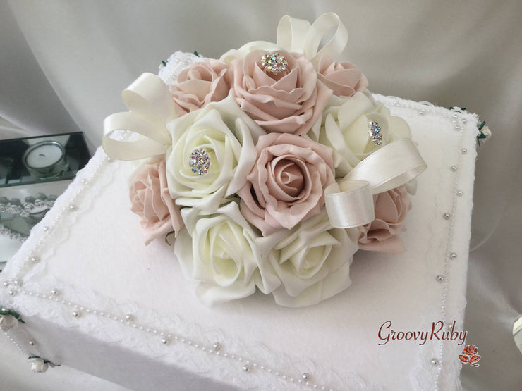 Vintage Mocha Pink & Ivory Roses With Small Iridescent Brooches Cake Topper