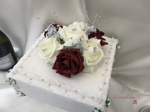 Burgundy & Ivory Roses With Babies Breath Cake Topper
