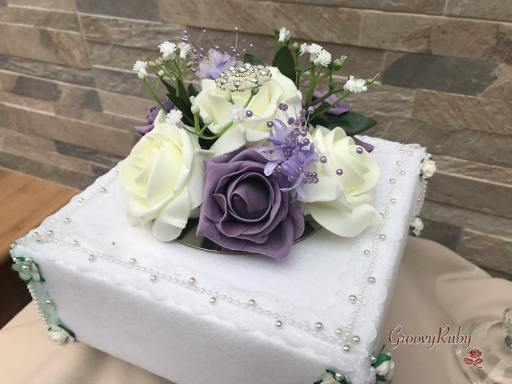 Mauve & Ivory Rose With Round Filigree Brooch