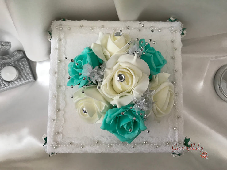 Tiffany Blue & Ivory Roses With Babies Breath Cake Topper