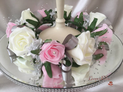 Baby Pink & Ivory Rose With Silver Babies Breath Wired Candelabra Table Rings