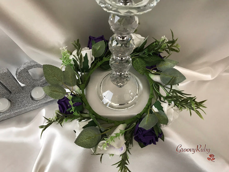 White & Purple Centred Calla Lily With Roses Wired Candelabra Table Rings