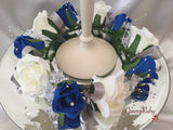 Royal Blue & Ivory Rose With Silver Babies Breath Wired Candelabra Table Rings