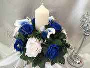 White Blue Centred Calla Lilies & White & Royal Blue Rose Small Round Table Centrepiece