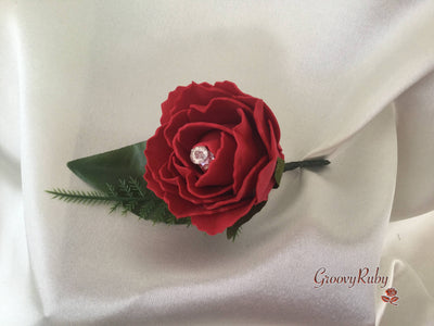 Single Carnation Crystal Buttonhole - Colour of your Choice