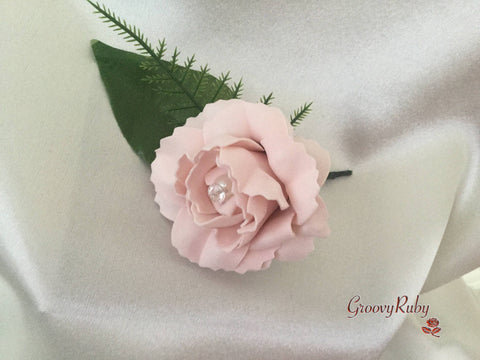 Single Carnation Pearl Buttonhole - Colour of your Choice