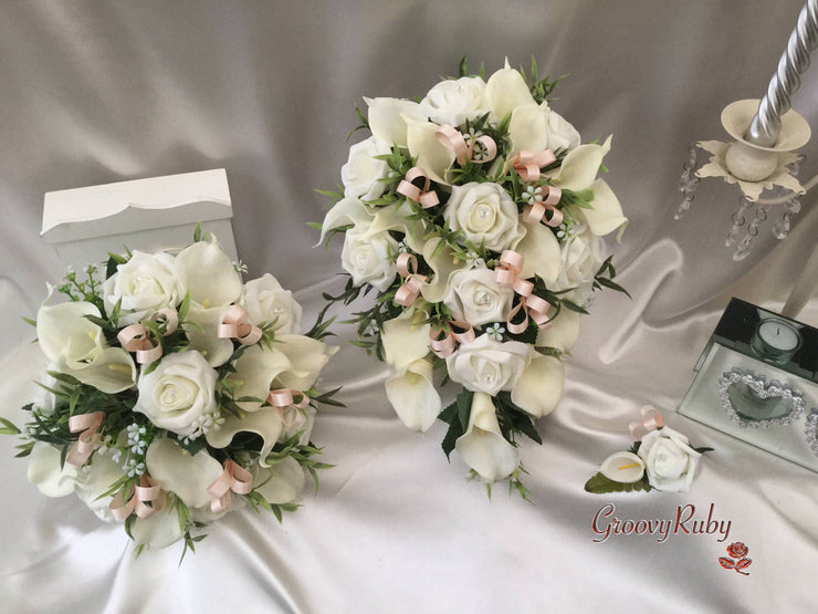 Champagne Ribbon Loops Full Bouquet Range