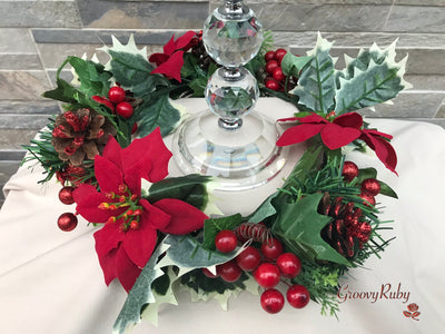 Christmas Candle Ring With Red Poinsettias & Fir Cones