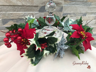 Christmas Candle Ring With Poinsettia
