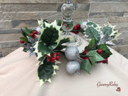 Christmas Candle Ring With Silver Apples