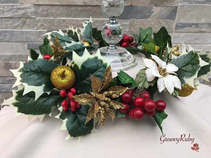 Christmas Candle Ring With Red & Gold Apples