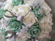 Mint Green & Ivory Rose With Silver Loops & Babies Breath