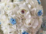 Rose Bouquets With Baby Blue Satin Diamante Flowers