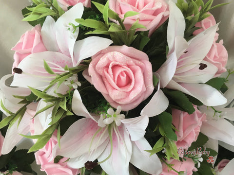 white pink centred lilies baby pink glitter roses groovyruby ltd
