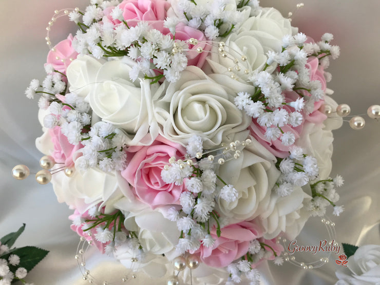 Baby Pink & Ivory Roses With Gypsophila, Pearl Loops & Pearl Sprays