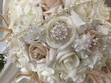 Beige Roses With Pearl & Diamanté