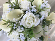 Ivory Roses & Carnations With Calla Lily & Gypsophila
