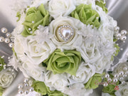Lime Green Roses & Pearl Heart Brooch With Pearl Sprays & Babies Breath