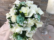 Mint Green Roses & Ivory Carnations With Calla Lily & Gypsophila