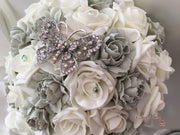 Large Diamante Iridescent Butterfly Brooch With Silver Carnations & Roses
