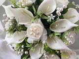 Ivory Rose & Large Calla Lily With Pearl Sprays & Pearl Brooch
