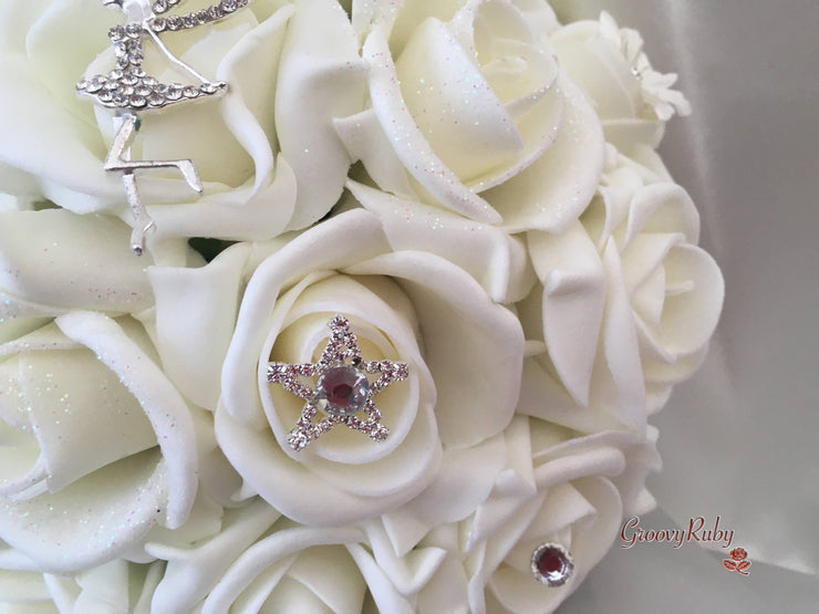 Glitter Roses With Fairy & Star Brooch