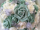 Mint Green Glitter Rose With Silver Babies Breath & Glitter Butterflies