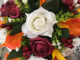 Ivory Glitter Rose, Orange Calla Lily, Burgundy Rose & Berries