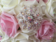 Baby Pink & Ivory Rose With Iridescent Brooches