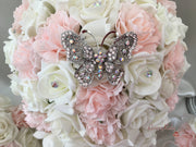Large Diamante Iridescent Butterfly Brooch With Blush Carnations & Roses