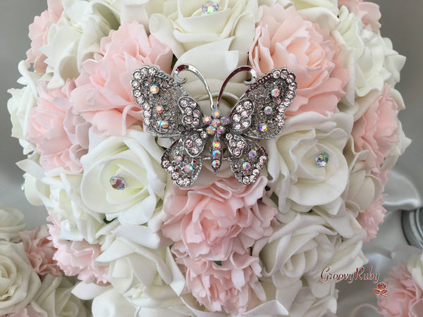 Large Diamante Iridescent Butterfly Brooch With Blush